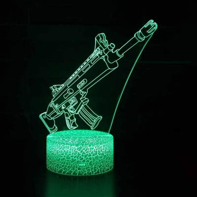 Gun Pattern Design 3D Night Lamp with Touch Sensor 7 Color Changing LED Bedside Light with USB Port for Bedroom