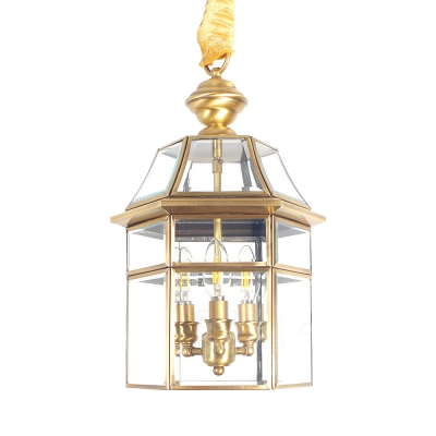 House Shape Pendant Chandelier 3 Lights Antique Style Clear Glass and Metal Hanging Light for Hallway