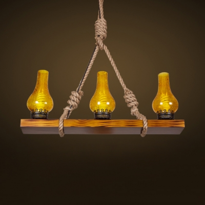 Industrial Kerosene Hanging Lamp 3 Lights Metal and Rope Island Fixture for Restaurant Cafe