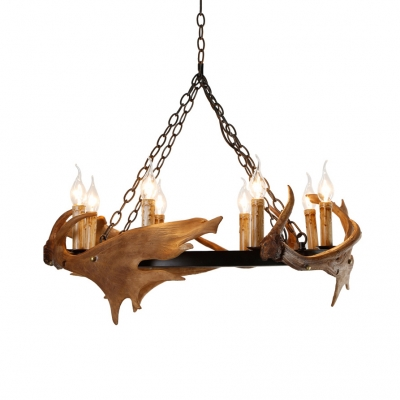 Living Room Ring Chandelier with Deer Horn Resin 8/12 Lights Antique Style Beige Pendant Light