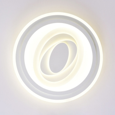 Kid Adult Bedroom Ceiling Mount Light Third Gear White Round Acrylic Flush Mount Light with Pattern