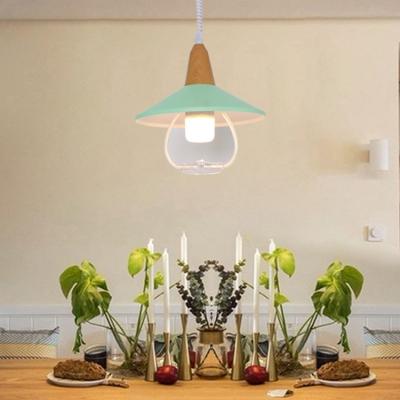 Macaron Cone Pendant Light with Wood Cap 1 Light Metal Hanging Lamp for Children Room