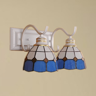 Mediterranean Style Dome Wall Light Stained Glass 2 Lights Black/White Sconce Light for Hallway