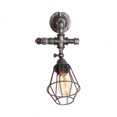 Metal Cage Wall Lighting Coffee Shop One Light Industrial Sconce Lighting Antique Gold/Antique Silver