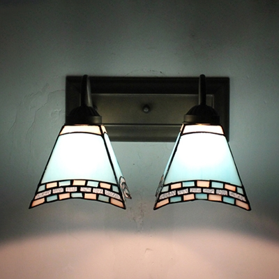 Sky Blue/Dark Blue Wall Light 2 Lights Mediterranean Style Stained Glass Wall Sconce for Kitchen