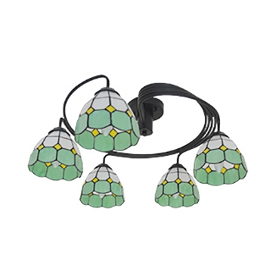 Stained Glass Cone Semi Flushmount Light 5 Lights Tiffany Style Ceiling Lamp in Blue/Yellow/Pink/Green