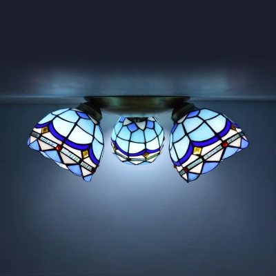 Stained Glass Flush Mount Light 3 Lights Victorian/Mediterranean/Baroque Ceiling Light