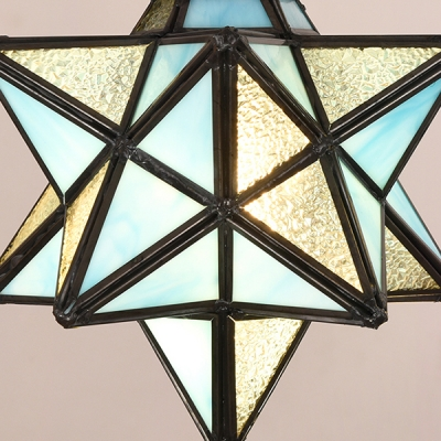 Star Sconce Light with Shelf 1 Head Tiffany Style Stained Glass Wall Lamp for Bedroom