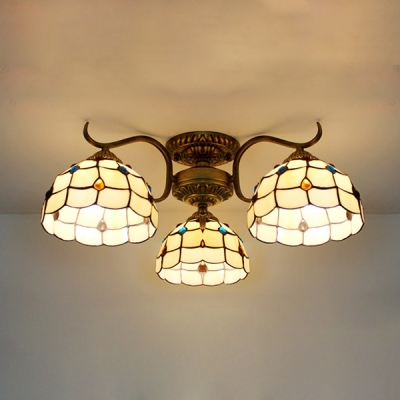 Tiffany Style Conical Semi Ceiling Mount Light 3 Lights Stained Glass Light Fixture for Living Room