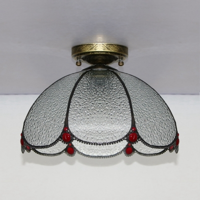 Tiffany Style Dome Flush Light Glass Simple Light Ceiling Light for Living Room Bedroom