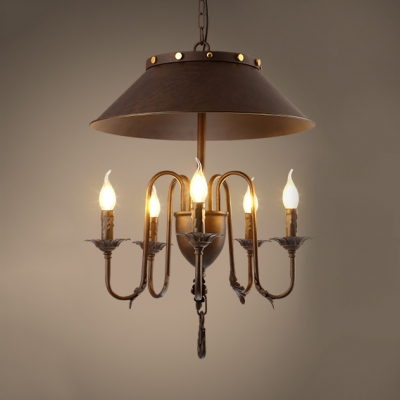 Vintage Style Candle Hanging Light with Tapered Shade Metal 5 Lights Black Chandelier for Dining Room