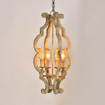 White Candle Shape Chandelier 4 Lights Rustic Style Wood Hanging Lamp for Restaurant Hotel