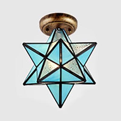 1 Light Star Flush Mount Light Tiffany Style Frosted Glass Ceiling Light for Kitchen Bathroom