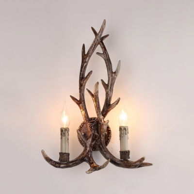 2 Lights Antlers Wall Sconce Rustic Style Metal and Resin Wall Lamp for Living Room Bedroom