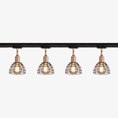 3/4 Lights Dome Ceiling Light with Cafe Antique Metal LED Track Lighting in Black for Restaurant