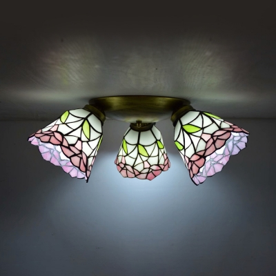 3 Lights Ceiling Mounted Light Rustic Style Beige/Blue/Pink Glass Flush Mounted Light for Stair
