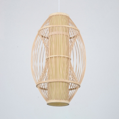 Single Light Curved Pendant Lighting Rattan Rustic Style Ceiling Light Fixture in Beige for Bedroom