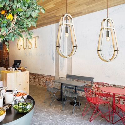 Living Room Foyer Pendant Light with Shade Rattan Single Light Industrial Style Ceiling Light