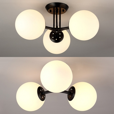 Frosted Glass Metal Semi Flush Ceiling Light White Globe Shade 3/6 Lights Contemporary Light Fixture for Dining Room