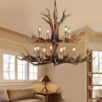 6/8/12 Lights Candle Shape Chandelier with Antlers Antique Style Resin Hanging Light for Restaurant