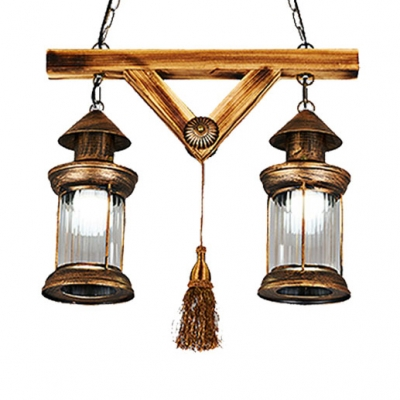 Antique Bronze Lantern Island Light with Tassel Industrial Metal 2 Lights Hanging Light for Corridor