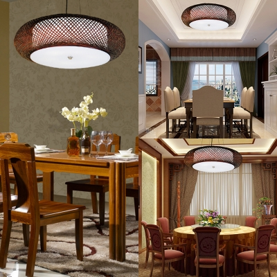 Antique Oval Ceiling Pendant Light Single Light Bamboo Ceiling Fixture for Restaurant Coffee Shop