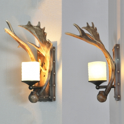 Antique Style Antlers Shape Wall Sconce Metal Single Light Sconce for Dining Room Living Room