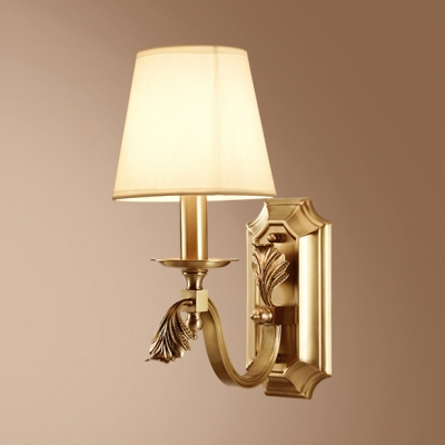 Antique Style Brass Wall Light Tapered Shade 1 Light Fabric Metal Sconce Light for Bedroom