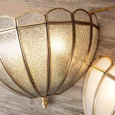 Antique Style Dome Wall Sconce 2 Lights Glass Wall Light in Brass for Bedroom Restaurant