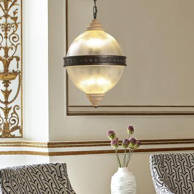 Antique Style Globe Shape Chandelier 6 Lights Metal and Glass Pendant Lighting for Restaurant Cafe