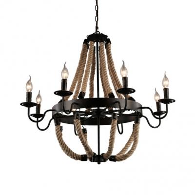 Black Candle Shape Chandelier Light 6/8 Lights Industrial Metal and Rope Hanging Light for Living Room
