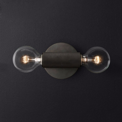 Brass/Chrome/Black Wall Light with Open Bulb 2 Lights Industrial Metal Sconce Light for Coffee Shop Bar