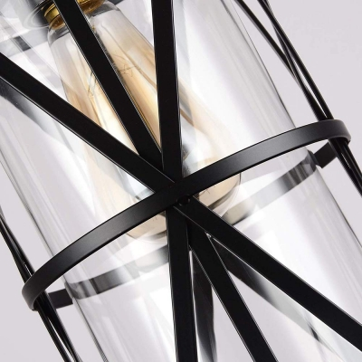 Clear Glass Cylinder Pendant Light with Black Metal Frame One Light Industrial Hanging Ceiling Light