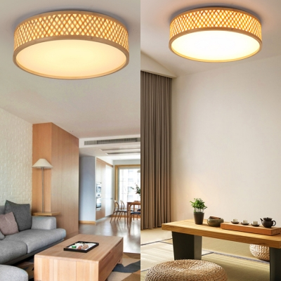 Contemporary Drum Shape Ceiling Light Wood and Acrylic Flush Ceiling Light for Dining Room