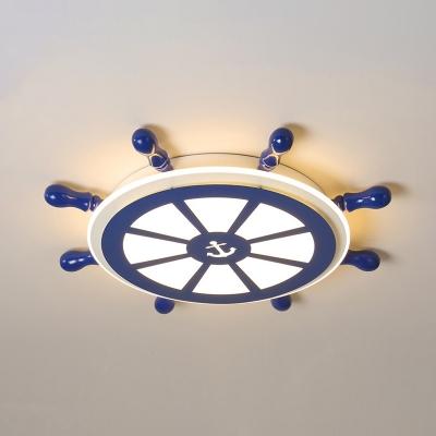Creative Rudder Shape Ceiling Mount Light Warm Lighting/Stepless Dimming Eye-Caring Flush Ceiling Light for Child Room