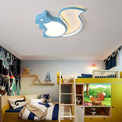 Cute Squirrel Light Fixture Acrylic White/Third Gear/Stepless Dimming Flush Ceiling Light for Child Room