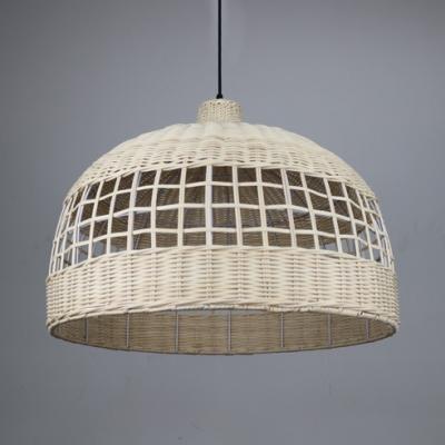 Domed Shape Restaurant Ceiling Fixture Single Light Antique Style Rattan Ceiling Light in White