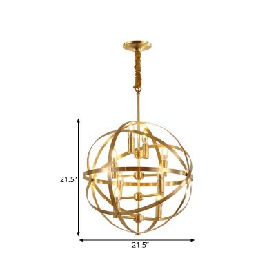 Elegant Globe Shape Chandelier Light 4/6/8 Lights Metal Hanging Lamp in Brass for Living Room Bedroom