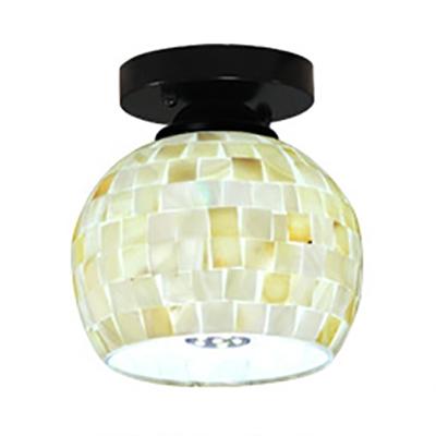 European Style Dome Ceiling Lamp Shell One Light Flush Mount Light for Hallway