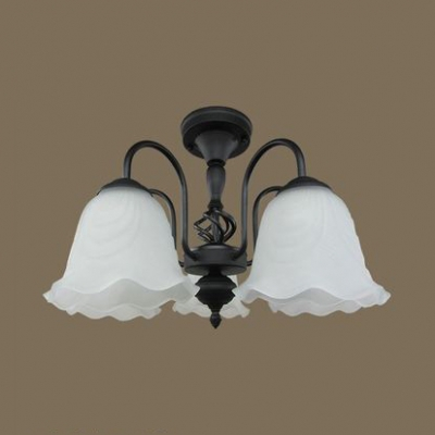 Frosted Glass Flower Ceiling Lamp 3/5/6/8 Lights Vintage Style Semi Ceiling Mount Light for Shop4