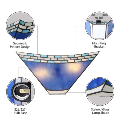 Geometric Blue Stained Glass 8 Inch High Tiffany Two-light Wall Sconce