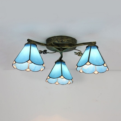 Glass Conical Ceiling Mounted Light 3/5 Light Tiffany Style Semi Flush Mounted Light for Study