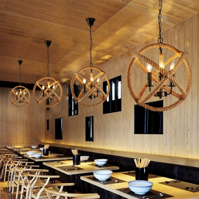 Globe Shape Dining Room Pendant Lighting Rope and Metal 3 Lights Traditional Chandelier in Beige