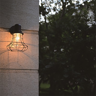 Gourd Sconce Wall Light for Restaurant Hallway Rustic Wire Cage Shade One Light Wall Lamp in Black