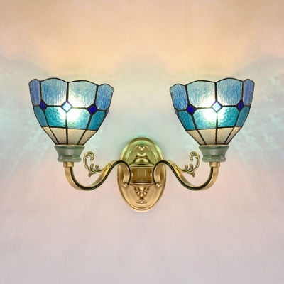 Hallway Domed Wall Sconce Stained Glass 2 Lights Mediterranean Style Blue Sconce Light