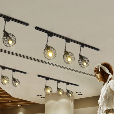 Industrial Caged Track Light 3 Lights Metal Rotatable LED Spot Light in Black/Rust/White for Cafe Bar