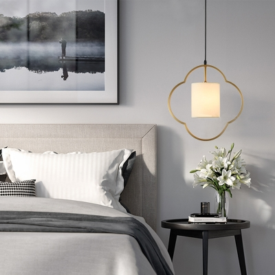 Living Room Bedroom Pendant Light with White Cylinder Shade Frosted Glass Metal 1 Light Modern Hanging Light