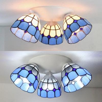 Mediterranean Style Conical Ceiling Light 3 Lights Stained Glass Flush Mount Light for Restaurant