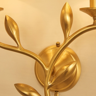 Metal Tapered Shade Wall Lamp with Leaf Bedroom 1/2 Lights Antique Style Wall Sconce in Brass