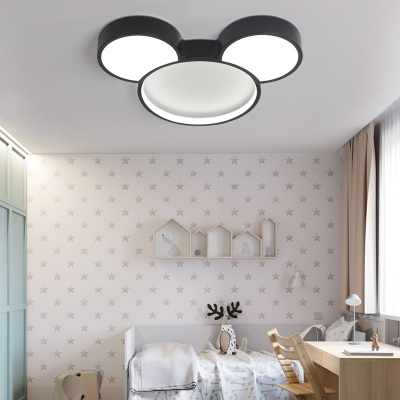 Mickey Mouse Ceiling Light White/Stepless Dimming Cute Acrylic Flush Mount Light for Kindergarten